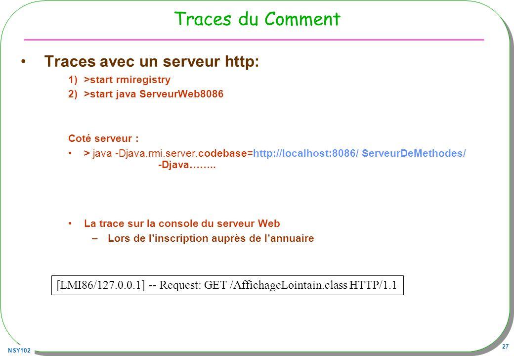Traces du Comment Traces avec un serveur http: