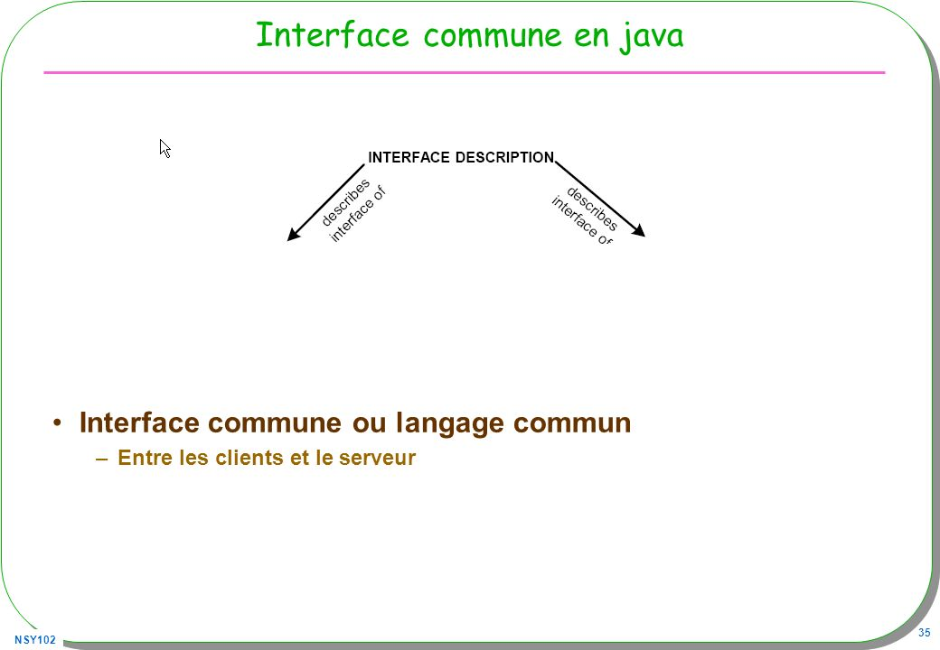 Interface commune en java