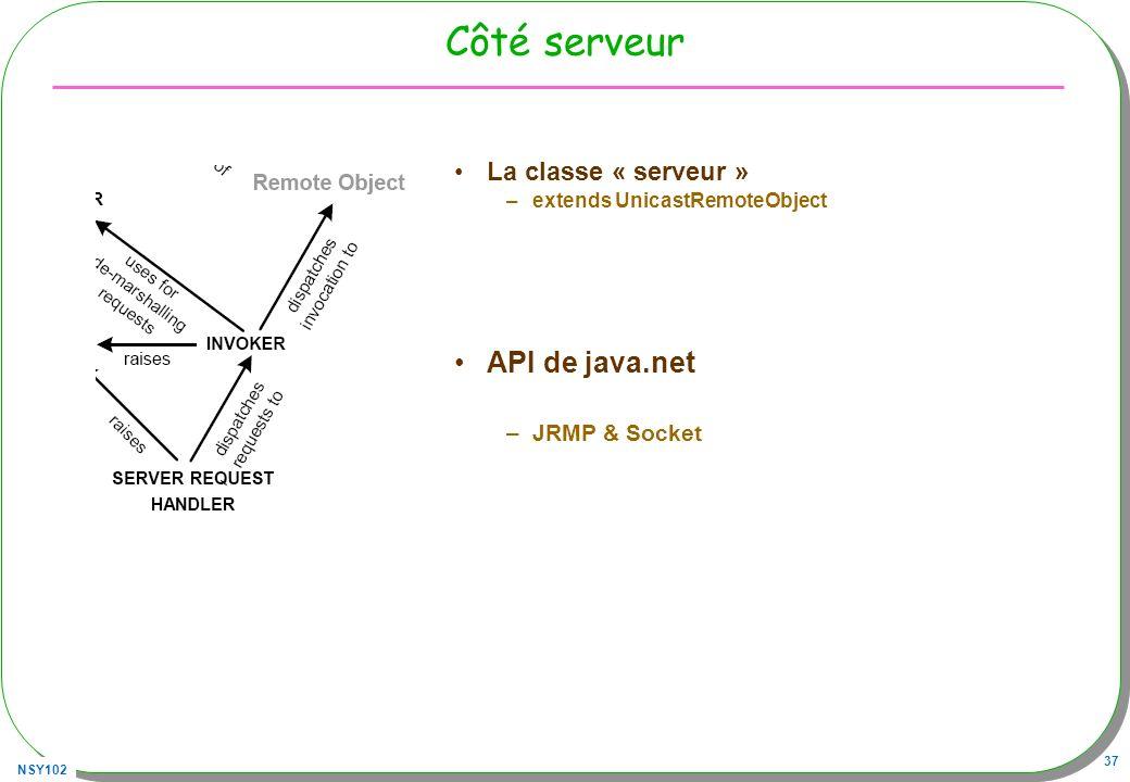 Côté serveur API de java.net La classe « serveur » JRMP & Socket