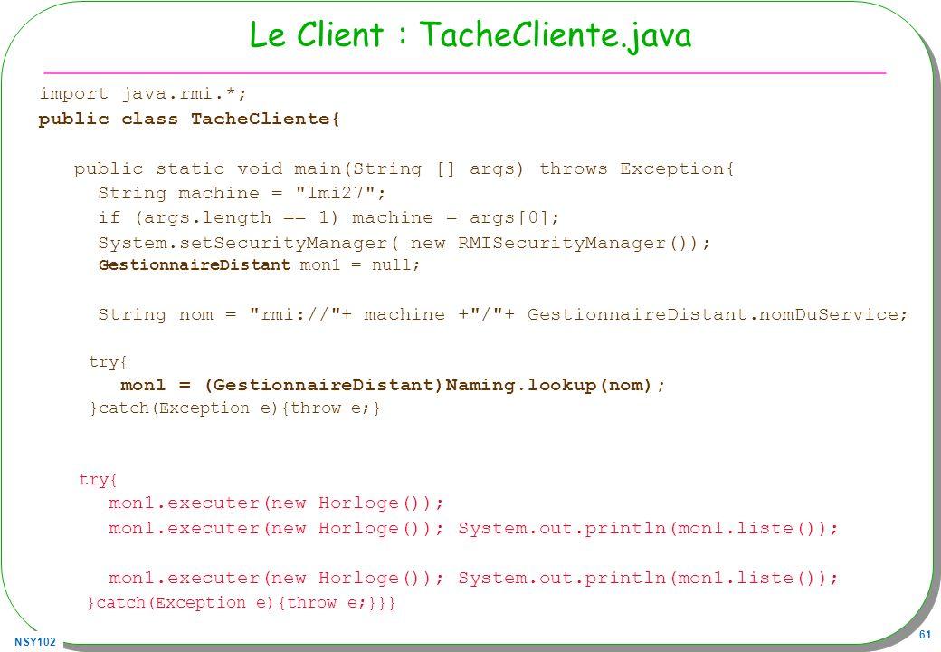 Le Client : TacheCliente.java
