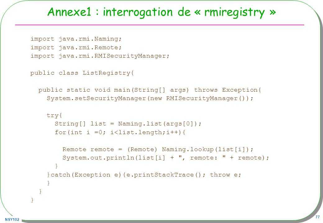 Annexe1 : interrogation de « rmiregistry »