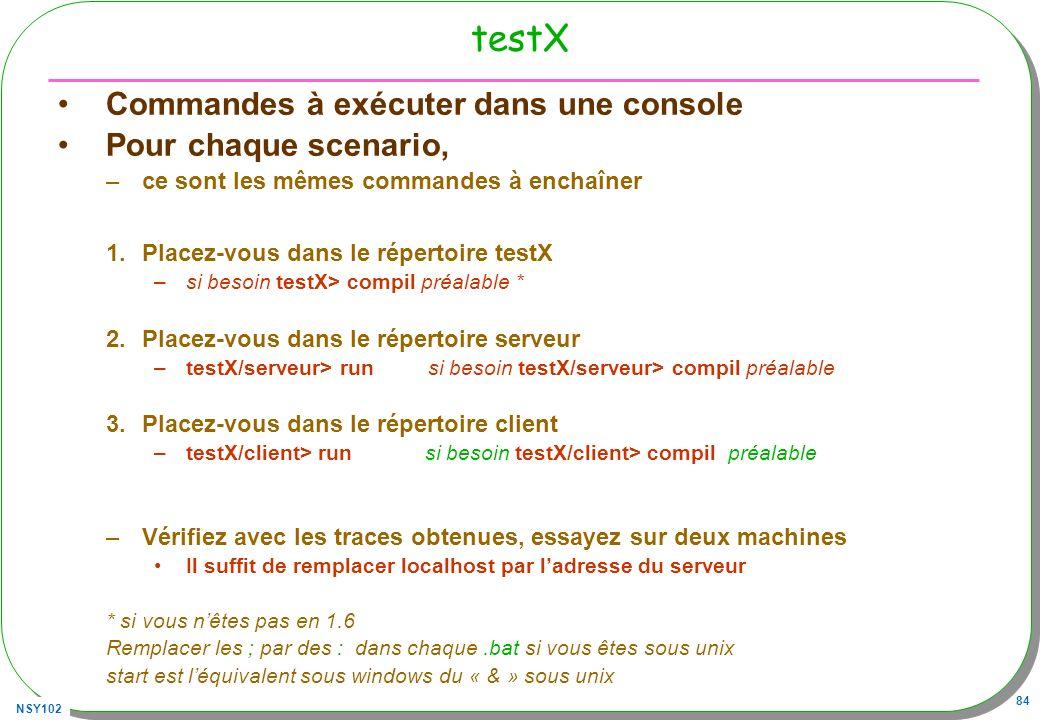 testX Commandes à exécuter dans une console Pour chaque scenario,