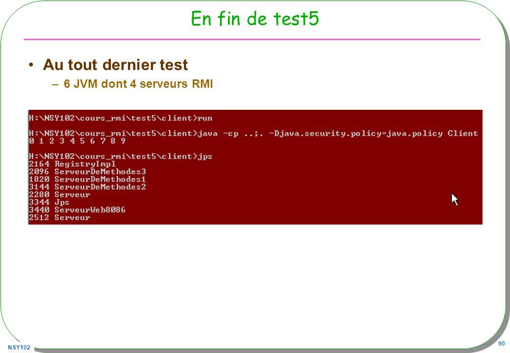 En fin de test5 Au tout dernier test 6 JVM dont 4 serveurs RMI