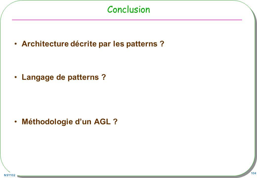 Conclusion Architecture décrite par les patterns