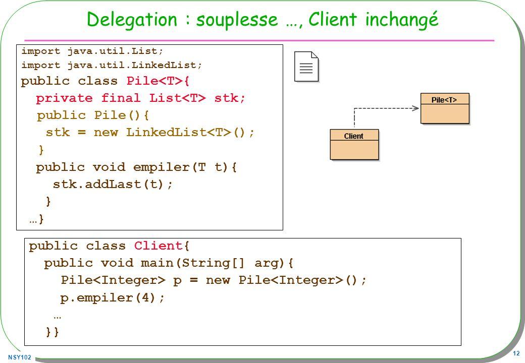 Delegation : souplesse …, Client inchangé