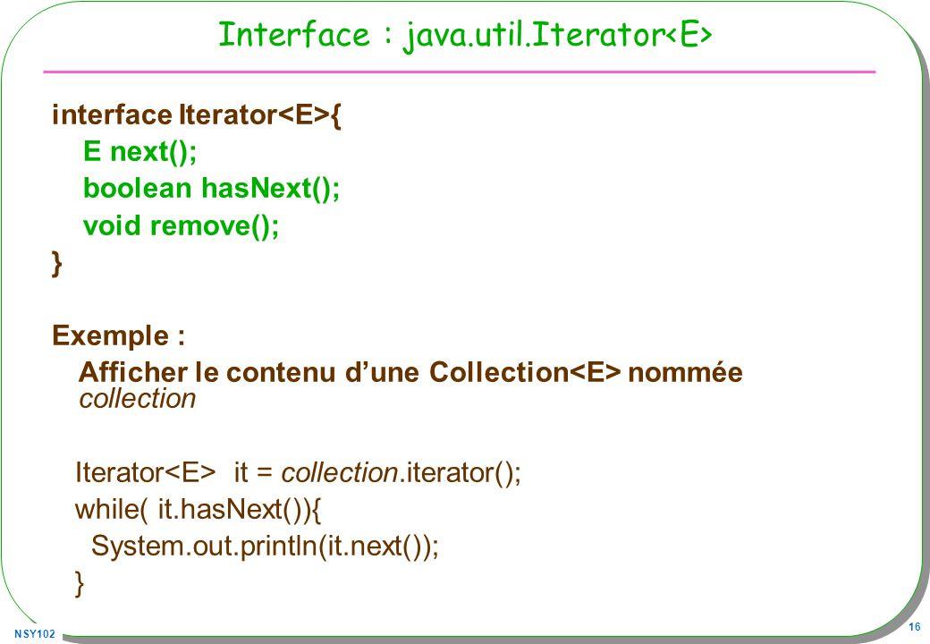 Interface : java.util.Iterator<E>