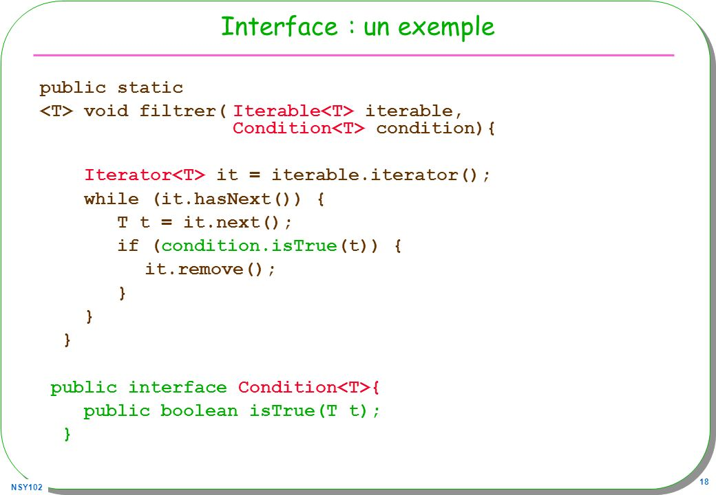 Interface : un exemple public static