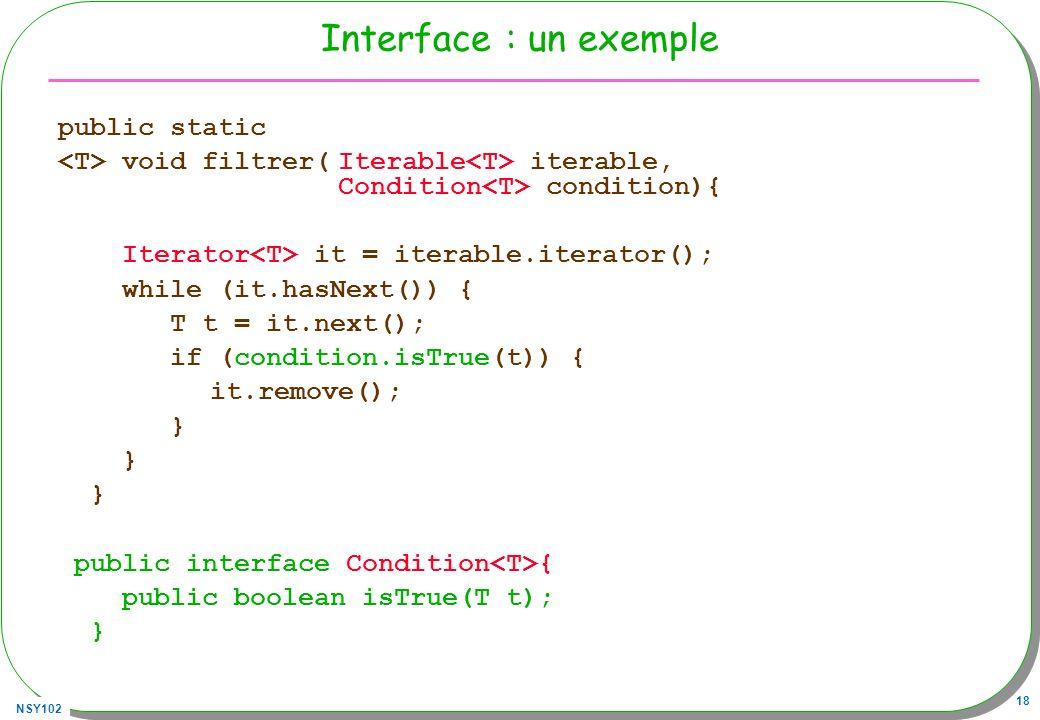 Interface : un exemple public static