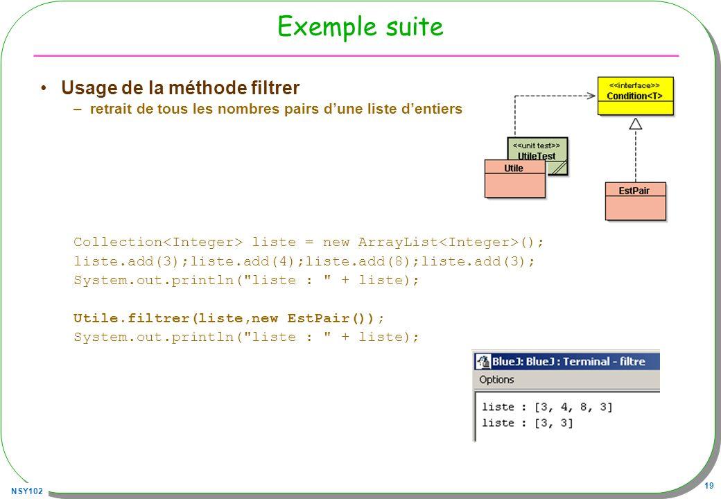 Exemple suite Usage de la méthode filtrer