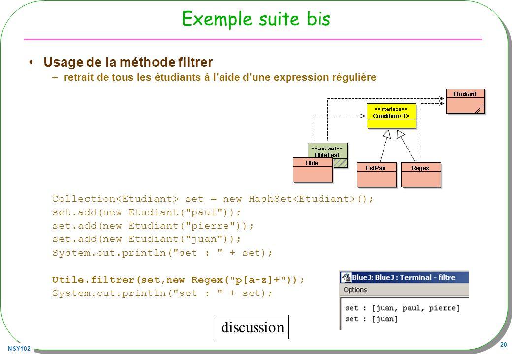 Exemple suite bis discussion Usage de la méthode filtrer