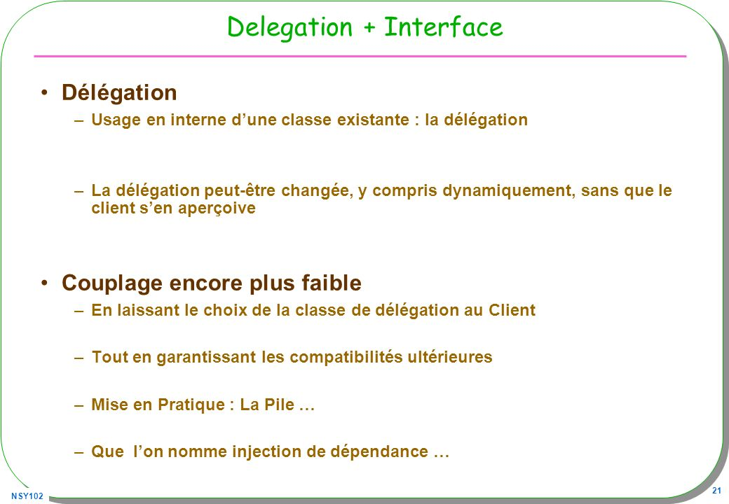 Delegation + Interface