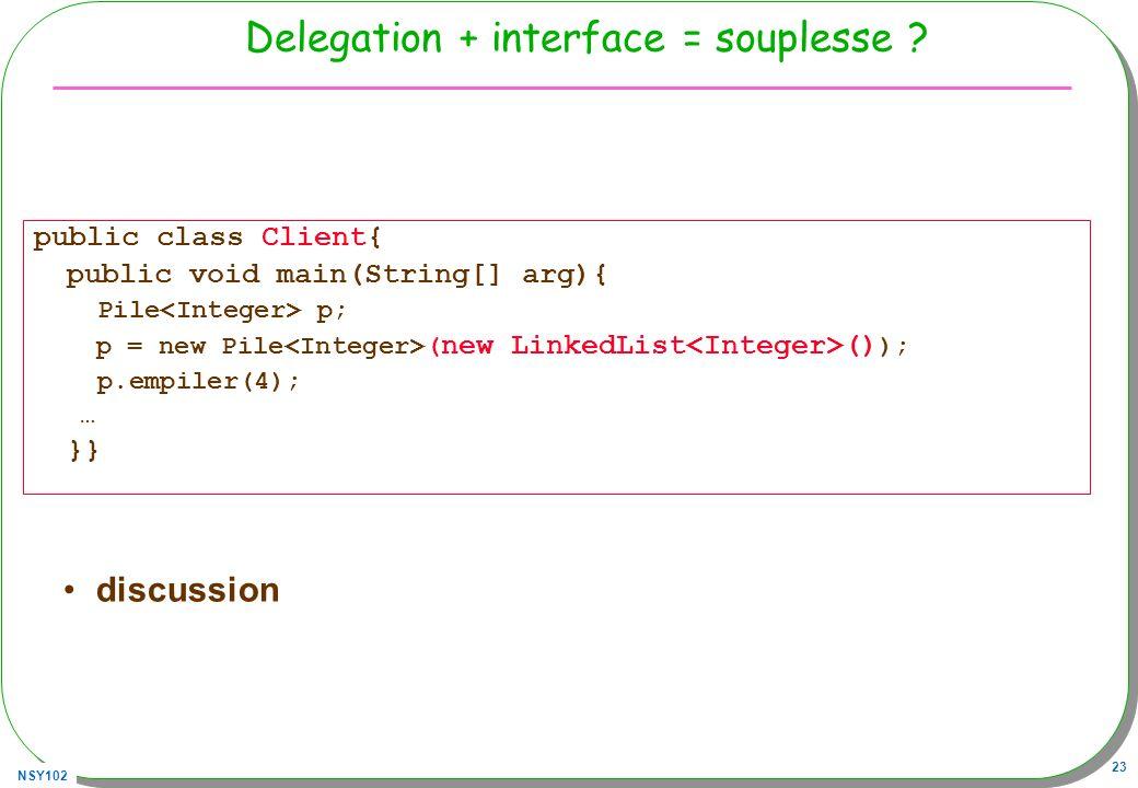 Delegation + interface = souplesse