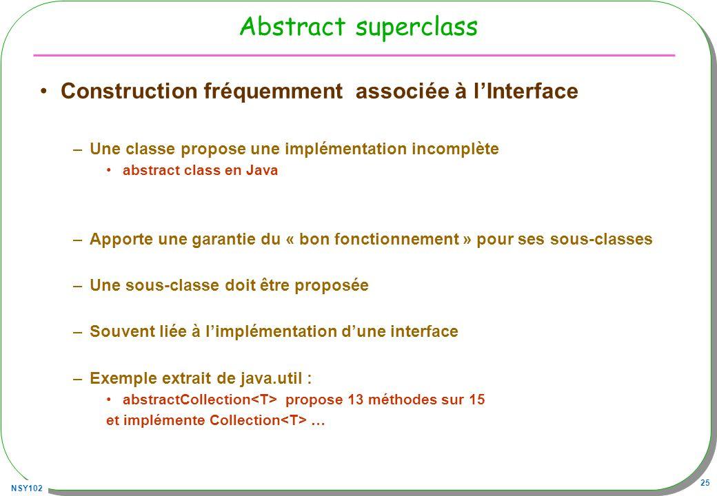 Abstract superclass Construction fréquemment associée à l'Interface
