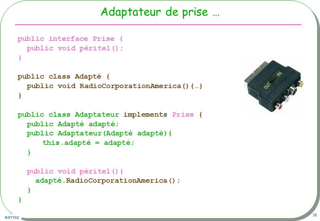 Adaptateur de prise … public interface Prise { public void péritel();