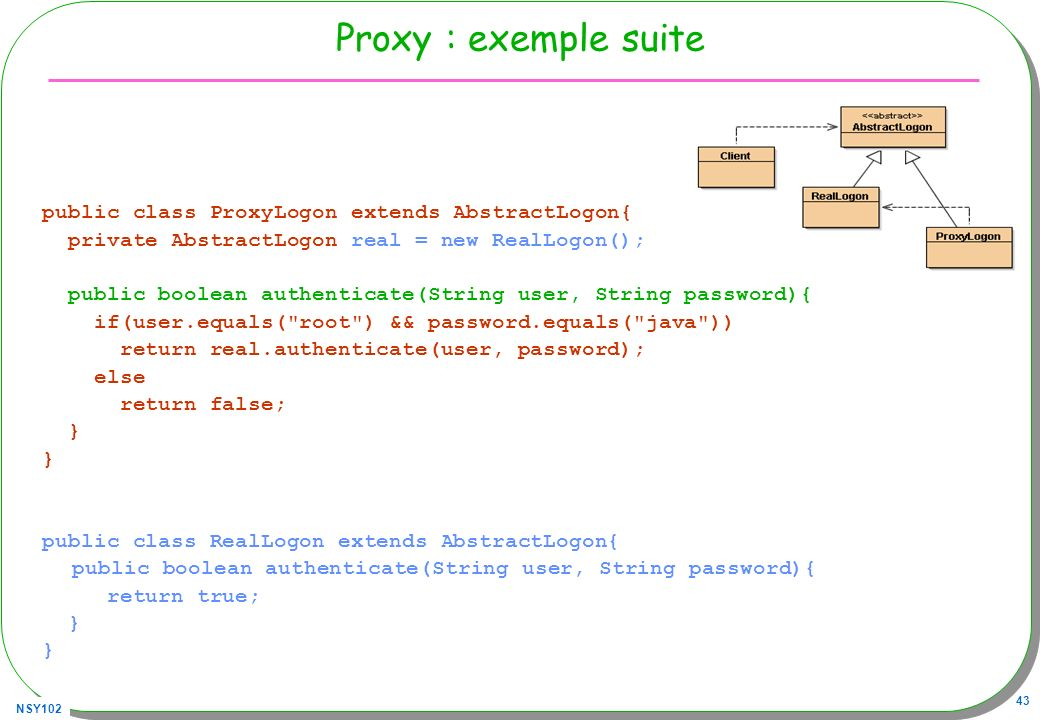 Proxy : exemple suite public class ProxyLogon extends AbstractLogon{
