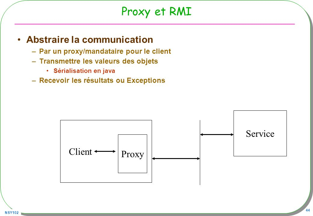 Proxy et RMI Abstraire la communication Service Client Proxy