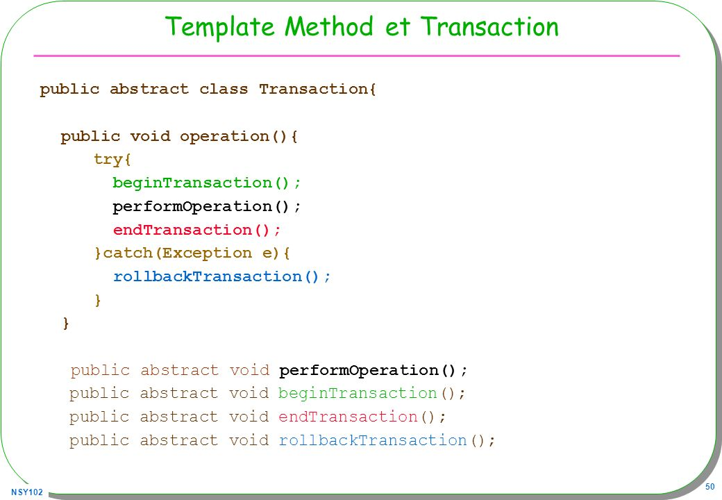 Template Method et Transaction