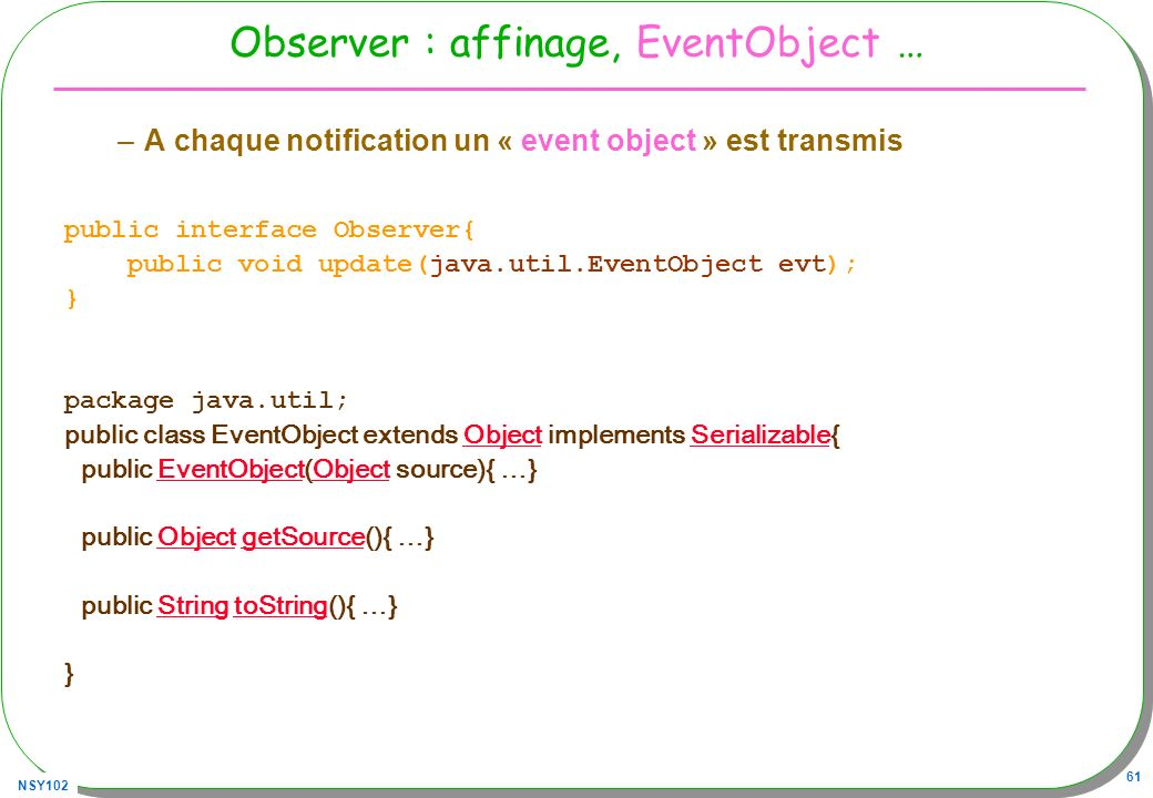 Observer : affinage, EventObject …