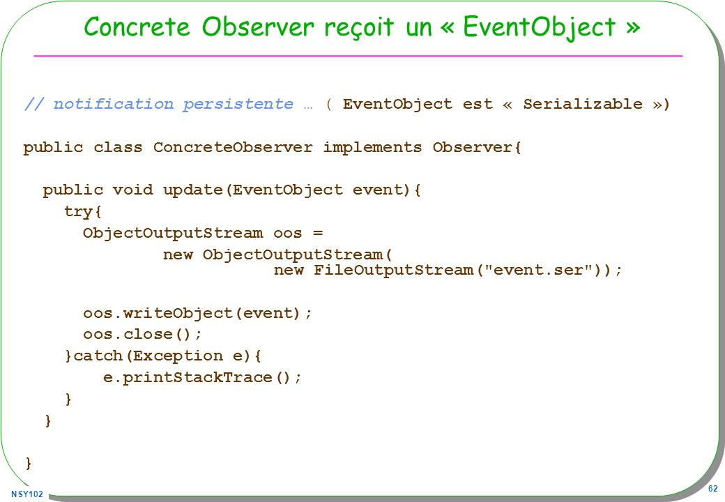Concrete Observer reçoit un « EventObject »