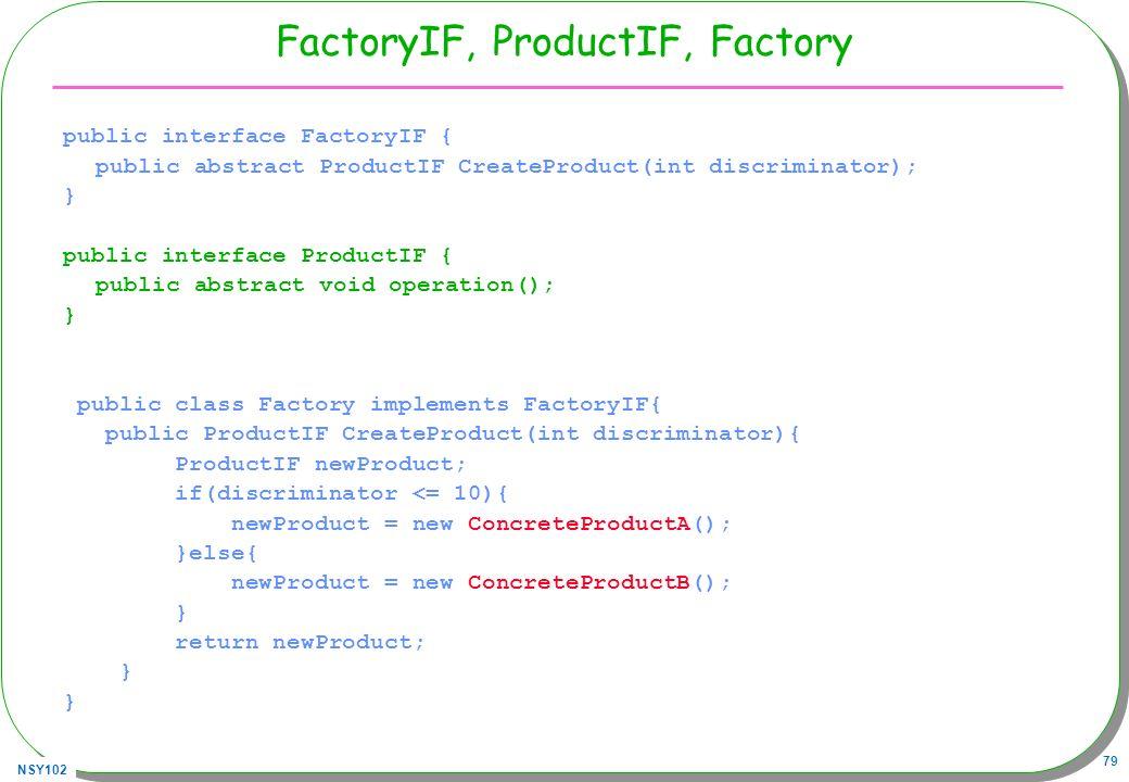 FactoryIF, ProductIF, Factory