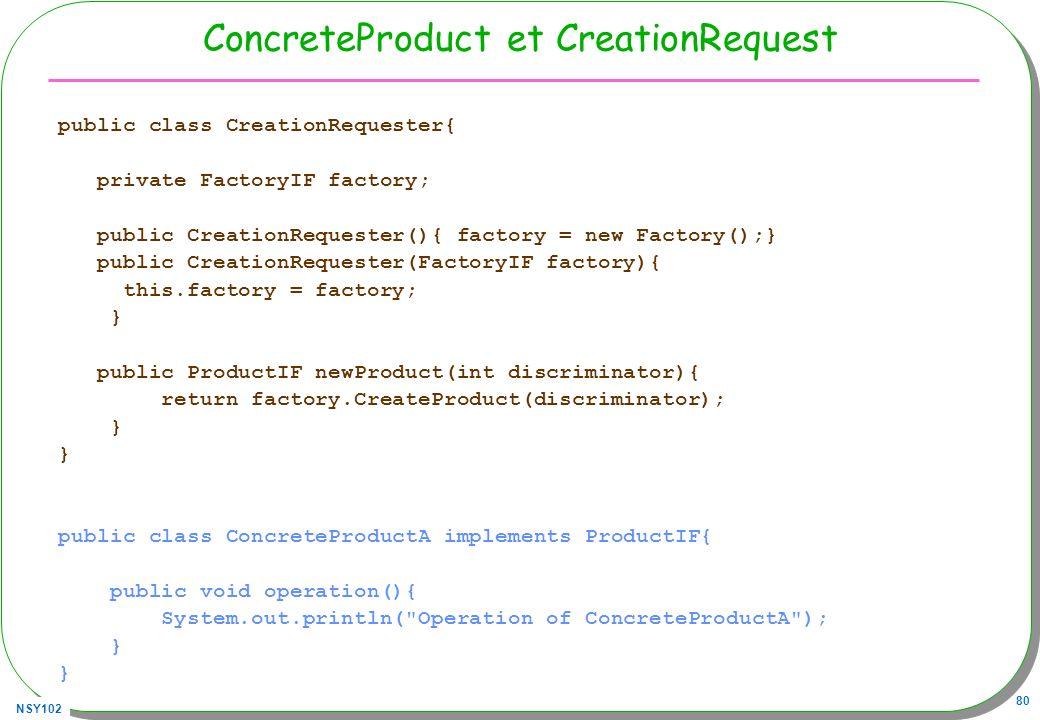 ConcreteProduct et CreationRequest