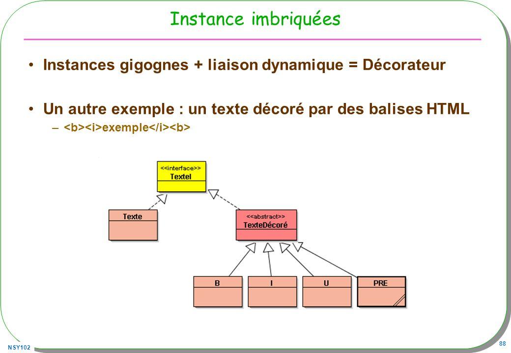 Instance imbriquées Instances gigognes + liaison dynamique = Décorateur. Un autre exemple : un texte décoré par des balises HTML.