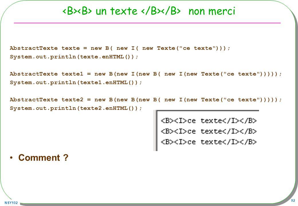 <B><B> un texte </B></B> non merci
