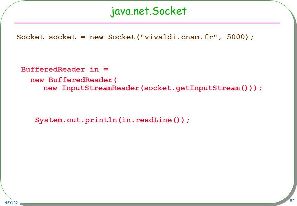 java.net.Socket Socket socket = new Socket( vivaldi.cnam.fr , 5000);