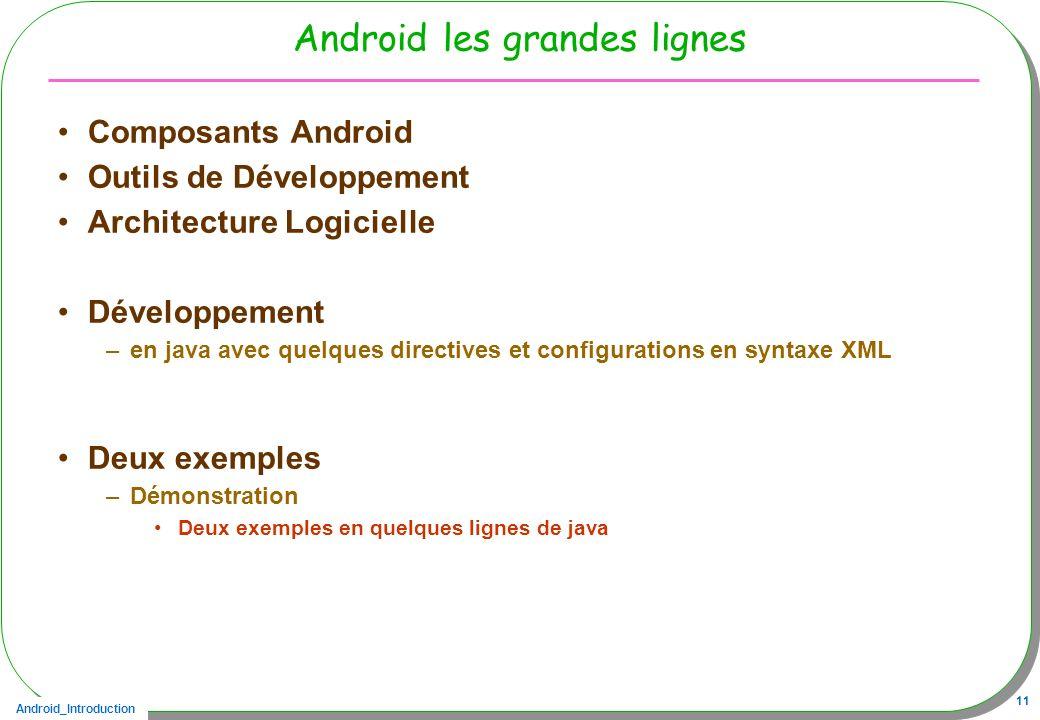 Android les grandes lignes