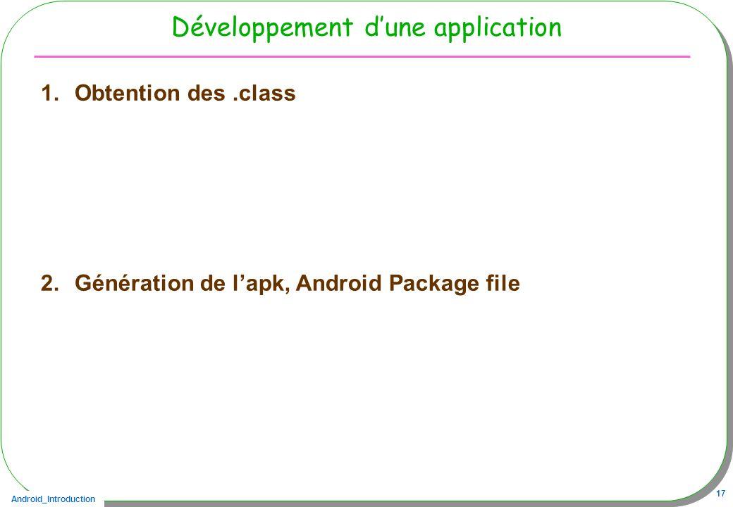 Développement d'une application