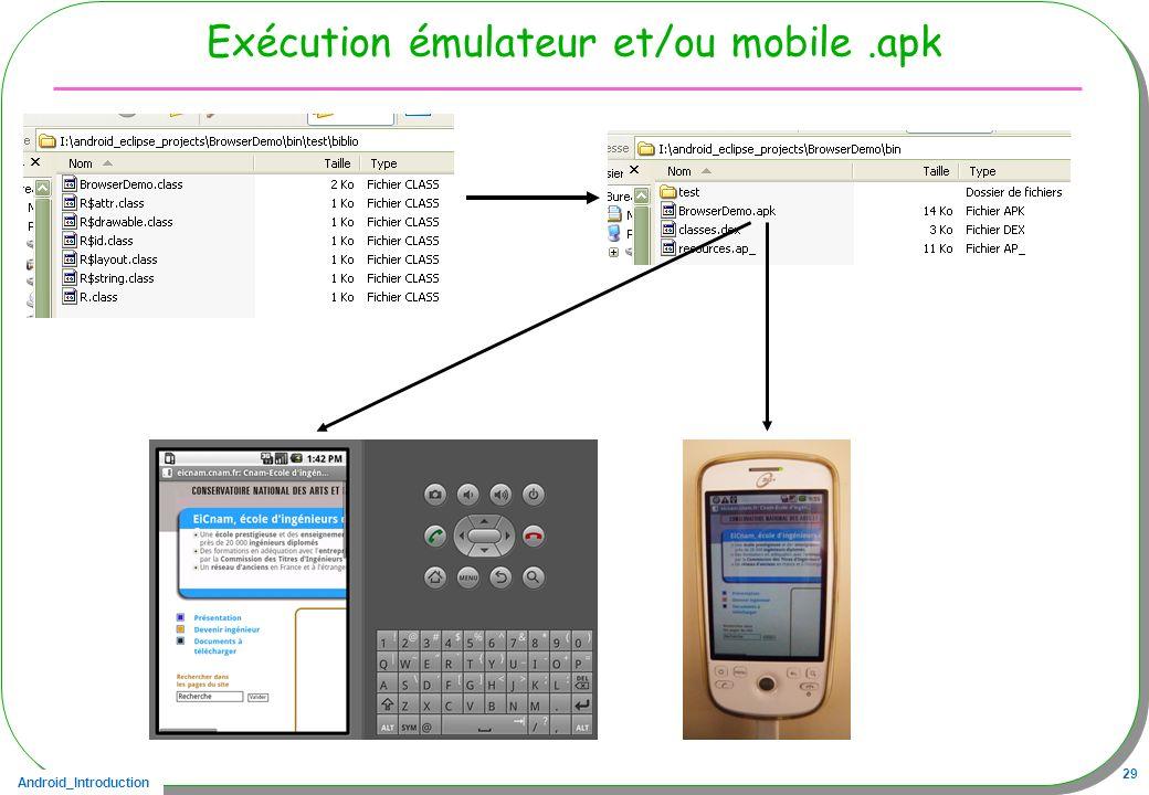 Exécution émulateur et/ou mobile .apk