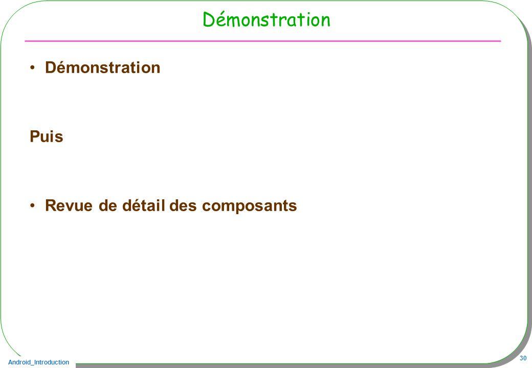 Démonstration Démonstration Puis Revue de détail des composants