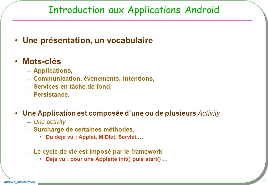 Introduction aux Applications Android