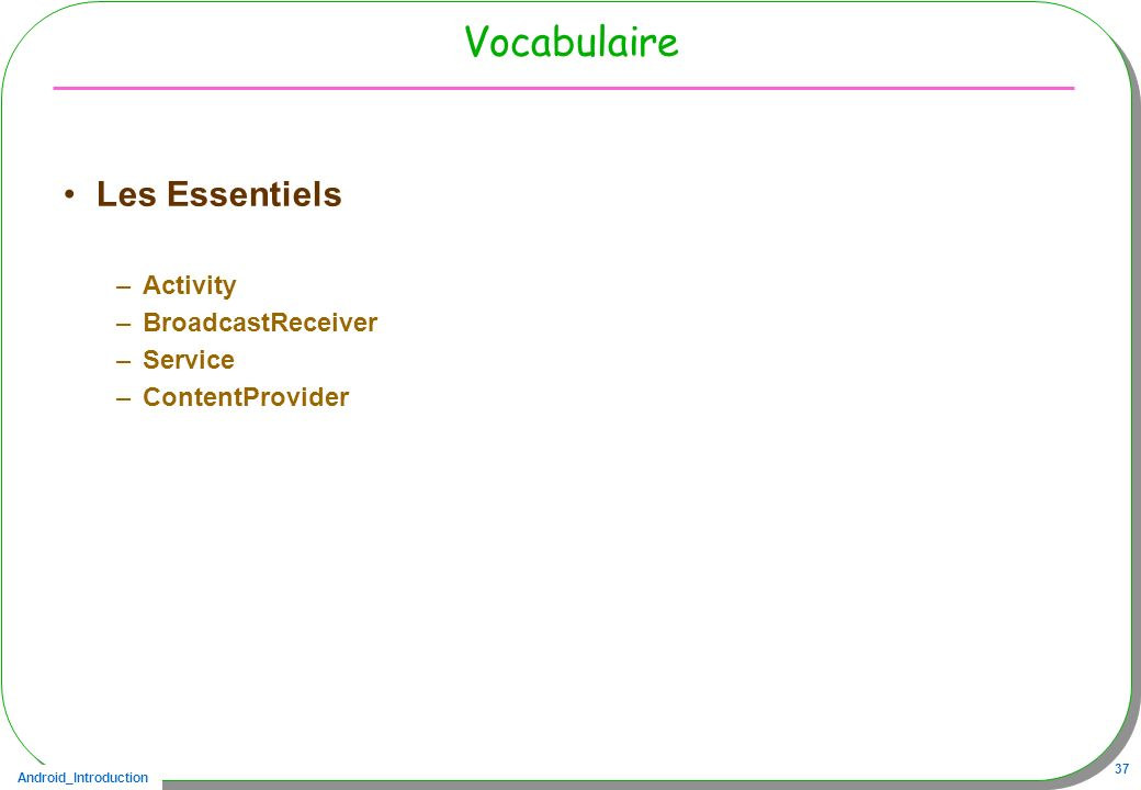 Vocabulaire Les Essentiels Activity BroadcastReceiver Service