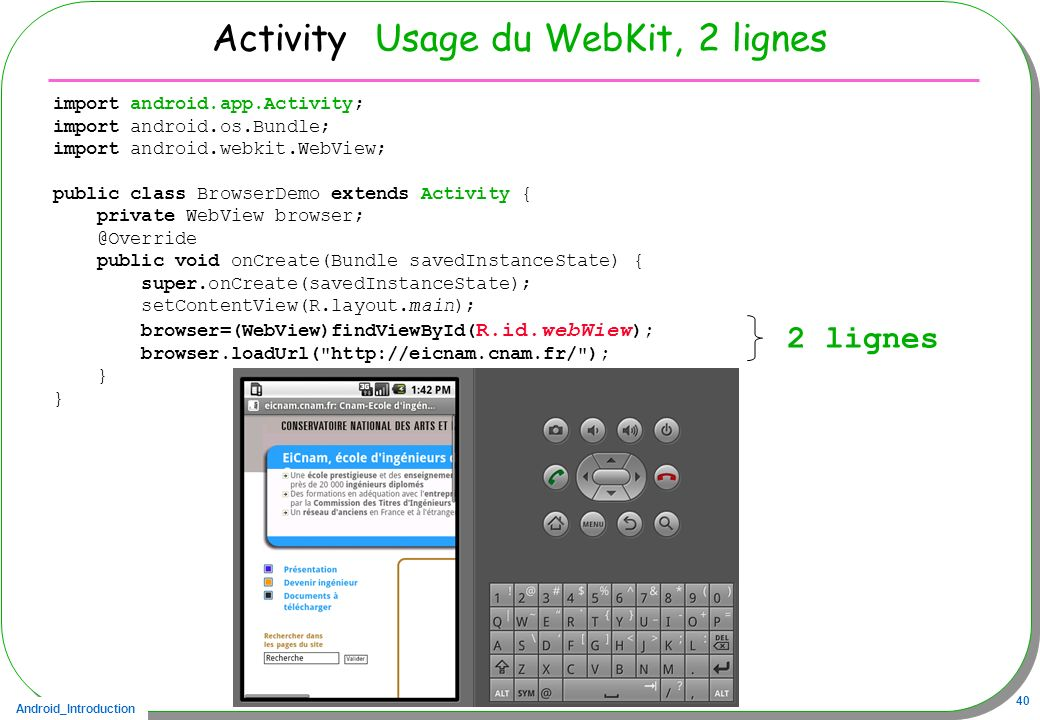 Activity Usage du WebKit, 2 lignes