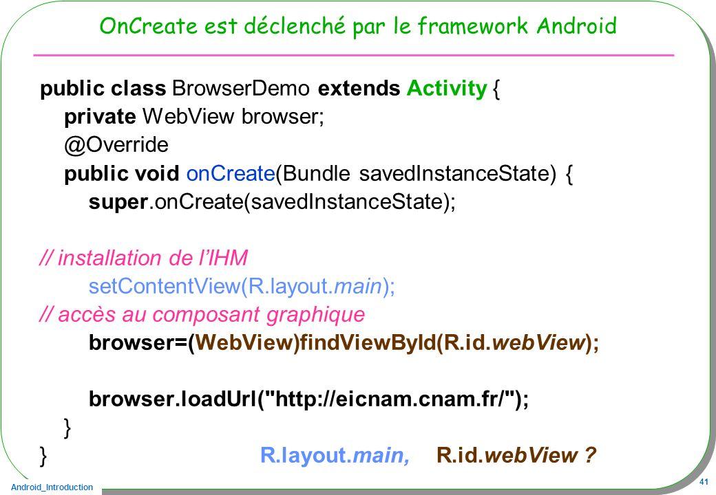 OnCreate est déclenché par le framework Android