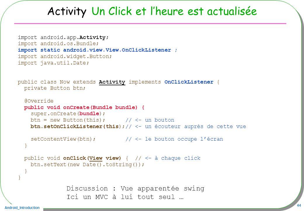 Activity Un Click et l'heure est actualisée