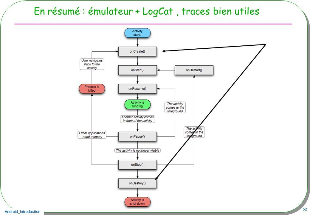 En résumé : émulateur + LogCat , traces bien utiles