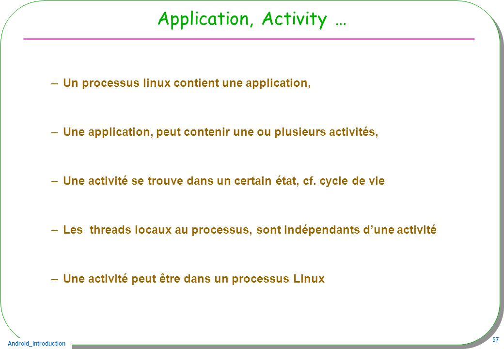 Application, Activity …