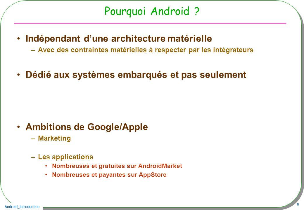 Pourquoi Android Indépendant d'une architecture matérielle
