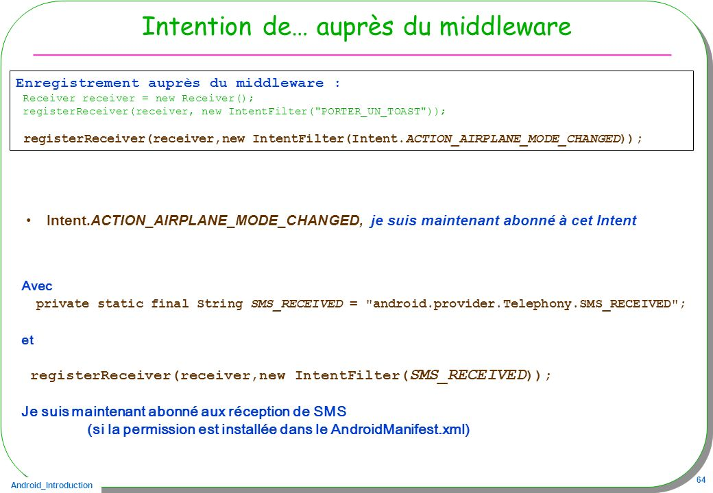Intention de… auprès du middleware