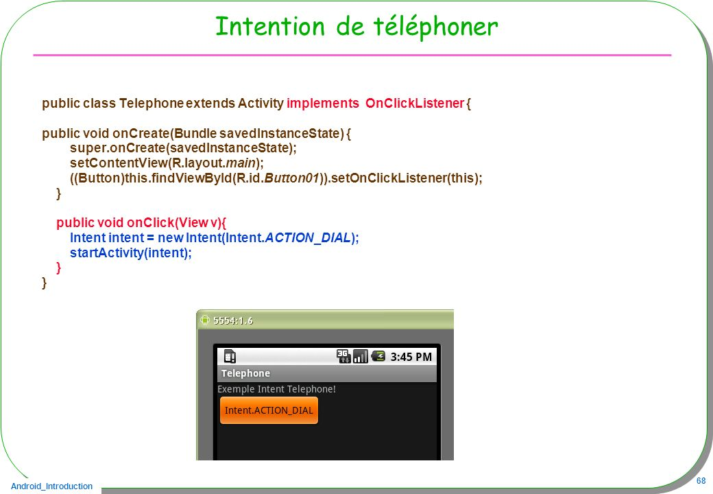 Intention de téléphoner