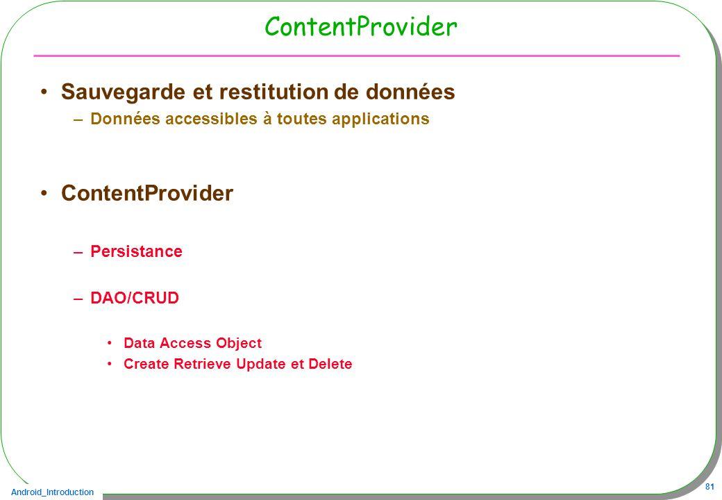 ContentProvider Sauvegarde et restitution de données ContentProvider