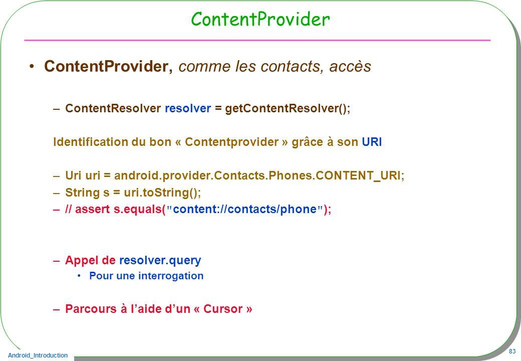 ContentProvider ContentProvider, comme les contacts, accès
