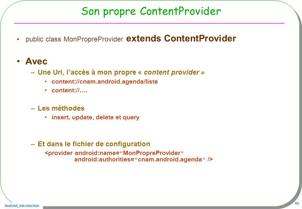 Son propre ContentProvider