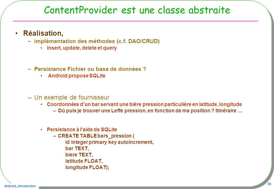 ContentProvider est une classe abstraite