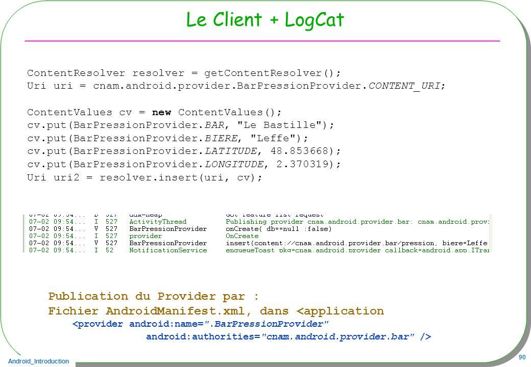 Le Client + LogCat Publication du Provider par :
