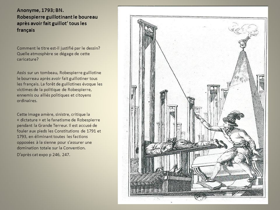 Anonyme, 1793; BN. Robespierre guillotinant le boureau après avoir fait guillot' tous les français