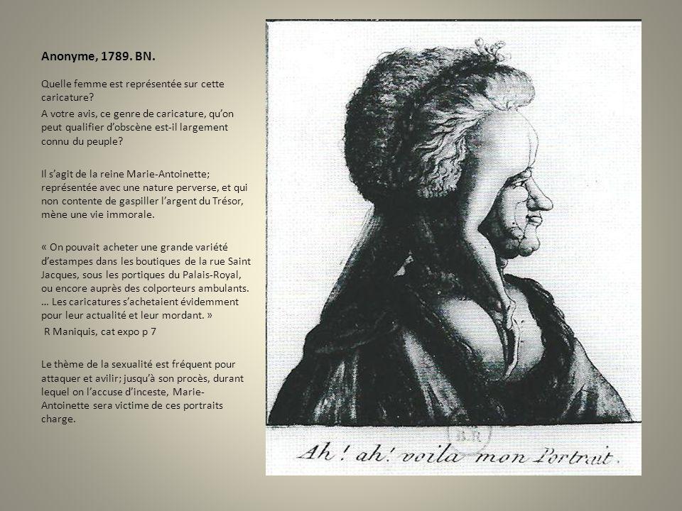 Anonyme, 1789. BN. Quelle femme est représentée sur cette caricature