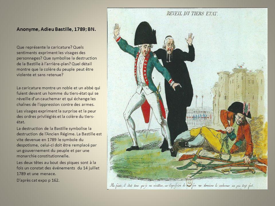 Anonyme, Adieu Bastille, 1789; BN.